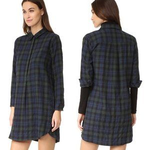 MADEWELL Plaid Flannel Side Button Dress M